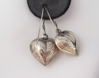 Puffy Heart Earrings in Sterling Silver - French Hooks - Engraved Vintage Hearts Jewelry Marked 925
