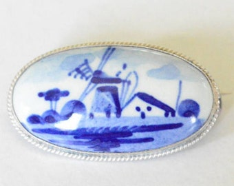 SALE Vintage Sterling Silver Delft Porcelain Blue Painted Windmill Scene Oval Style Pin Brooch