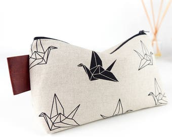 Large Wash Bag Origami Cranes Linen Toiletry Bag Linen Makeup Bag Gift for Him