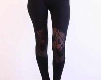 Black Leggings, Goth Leggings, Womens leggings, Cut Out Leggings, Sheer Leggings, Festival Leggings