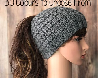 Messy Bun Beanie, Pony Tail Hat, Messy Bun Hat, Knit Hat, Winter Hat, Ponytail Beanie, Womans Accessory, Child Pony Tail hat, Childs Hat