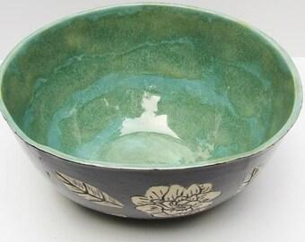ceramic serving bowl; ceramics and pottery bowl; sgraffito pottery; hand built pottery; handmade ceramics