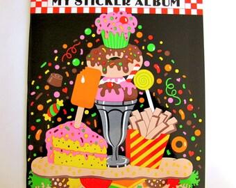 SALE Sandylion Sticker Album Rare Large Vintage Collectors Book Dessert Theme - 20 Pages HTF - Junk Food Cupcake Ice Cream Fries Lollipop