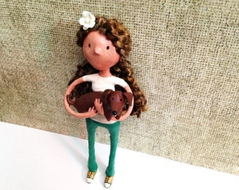 Doxie Girl Wall Art Figurine - One of a Kind Wall Sculpture