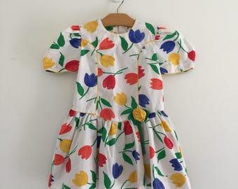 Vintage 80's Toddler Little Girls Tulip Dress Sz 5