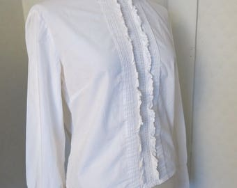 40s cotton lace frill bow blouse