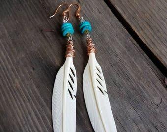 Feather Earrings Turquoise Earrings Mixed Metal Earrings Wire Wrapped Earrings Carved Bone Feathers Copper Earrings Silver Southwestern Boho