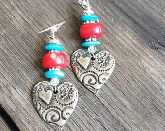 Heart Earrings Turquoise Earrings Red Coral Earrings Southwestern Earrings Arizona Earrings New Mexico Simple Love Earrings Tribal Ethnic