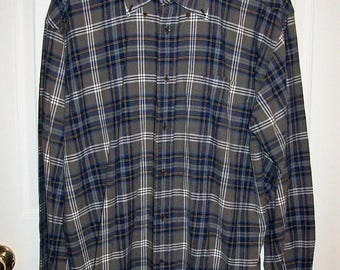 Vintage Men's Gray & Blue Plaid Long Sleeve Shirt by Tommy Hilfiger Large Only 12 USD