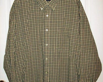 Vintage Men's Yellow & Green Plaid Long Sleeve Shirt Salute by Oleg Cassini Extra Large Only 8 USD