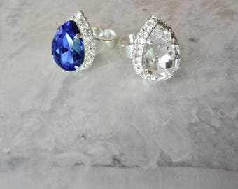Swarovski crystal ring ~ Adjustable ring~ Crystal statement ring~ Cocktail ring~ 18x13mm pear shape, Swarovski crystal ring,SOPHIA