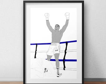 Anthony Joshua iconic win against Wladimir Klitschko - Boxing Print A4