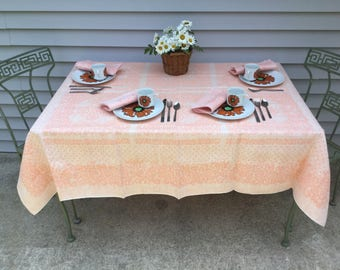 """Linen Tablecloth Woven Drawnwork Orange Ice Floral Design Quality Good Weight Vintage Table Cover 59"""" x 68"""""""