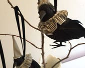 Halloween Stripe Fancy Crow Ornament with real feather tail-Halloween Decoration
