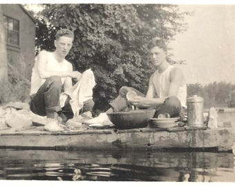 "Vintage Snapshot ""Cleaning Up"" Handsome Teen Boy Washes Dishes Lakeside Dock Guys Buddies Found Vernacular Photo"