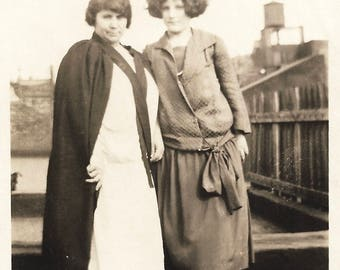 "Vintage Snapshot ""Family Ties"" Serious Women On Rooftop Drop Waist Dress With Sash Found Vernacular Photo"