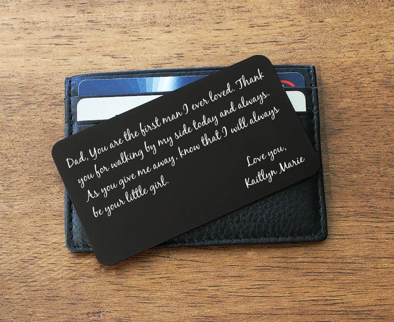 Wallet Insert, Wallet Card, Father Daughter gift, Father of the ...