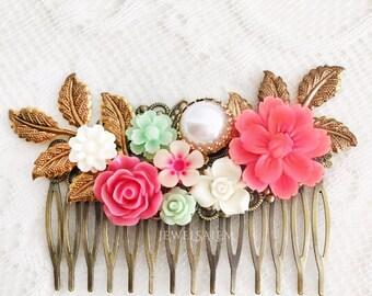 Deep Pink Mint Wedding Hair Comb Carnation Pink Green Flower Hair Slide Romantic Gold Leaf Bridal Hair Clip Bohemian Elegant Hair Adornment