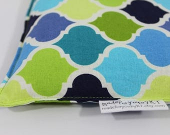 Rectangle Rice Bag - 6.5 x 10 inches, hot or cold therapy pack, rice heating pad, green and blue quatrefoil pattern