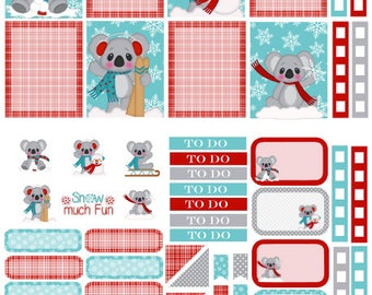 Snow Koala Winter planner sticker kit