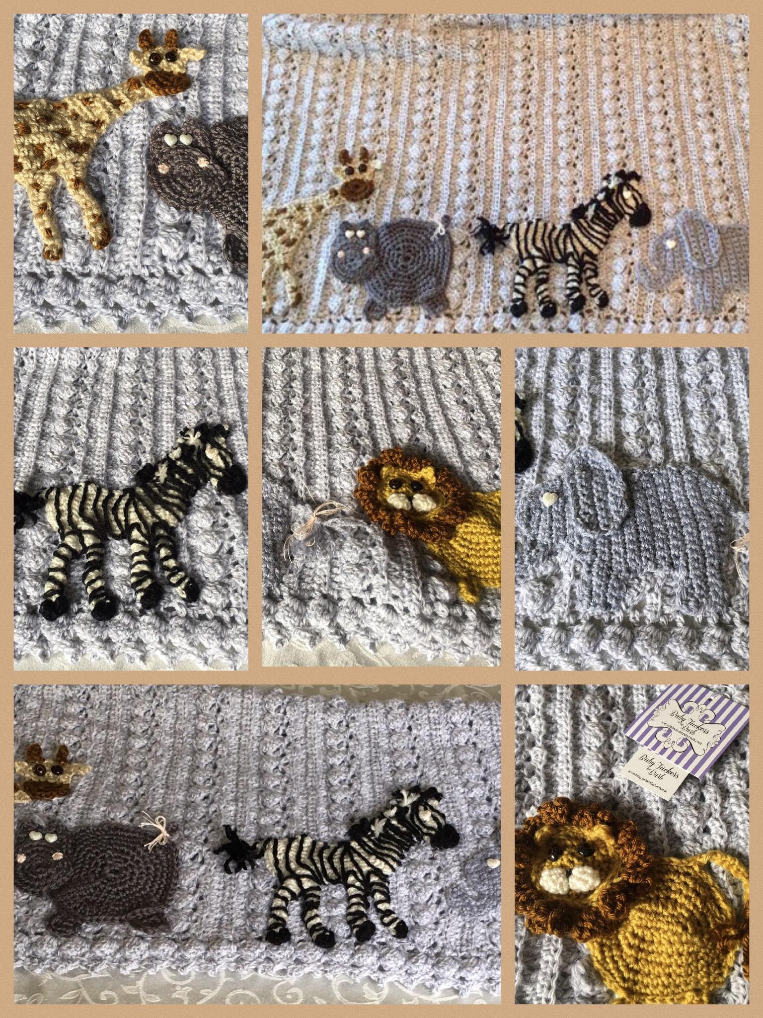 Custom Safari Crochet Baby Shower Blanket Jungle Woodland