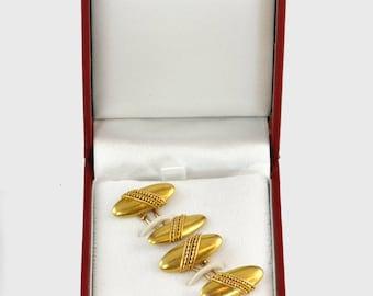 Antique 14KT Gold Cufflink Set -  C1800 - In Antique Style Gift Box, Formal Cufflinks, Grooms Cufflinks
