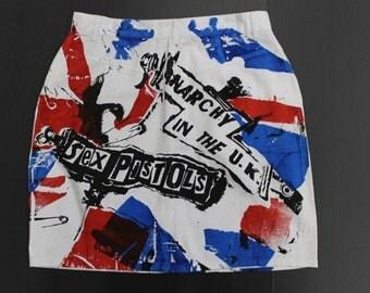 Ink Splat White Denim Skirt -Sex Pistols Flag Print -Punk- Anarchy in the UK - High waist- paint splatter - Union Jack - Womens 30W