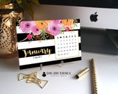 2018 FLORAL CALENDAR 2018 Planner Pretty Planner Desk Accessories Office Accessories 2018 Calendar Desk Calendar Office Calendar - Mady