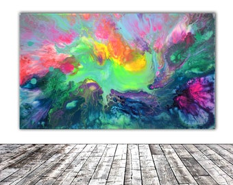 """ORIGINAL ABSTRACT ART - 20x12"""" - Fusion 17, Unique Original Fluid Abstract Painting Fine Art One of a Kind, Gift Wall Decor"""