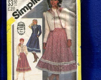 Vintage 1982 Simplicity 5491 Gunne Sax Bolero Jacket Blouse & Skirt all Trimmed in Ruffled Lace  Size 10