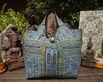 Tribal Tote Bag, Vintage Textile Bag,Indigo Batik Tote Bag, Indigo Batik Bag, Tribal Textile Hand Made Bag, Woven Fabric Tote Bag
