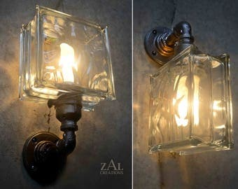Wall Light, Single Glass Block Sconce.
