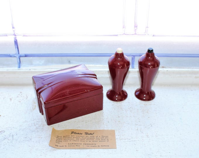 Vintage Art Deco Salt and Pepper Shakers with Box Maroon Carvanite