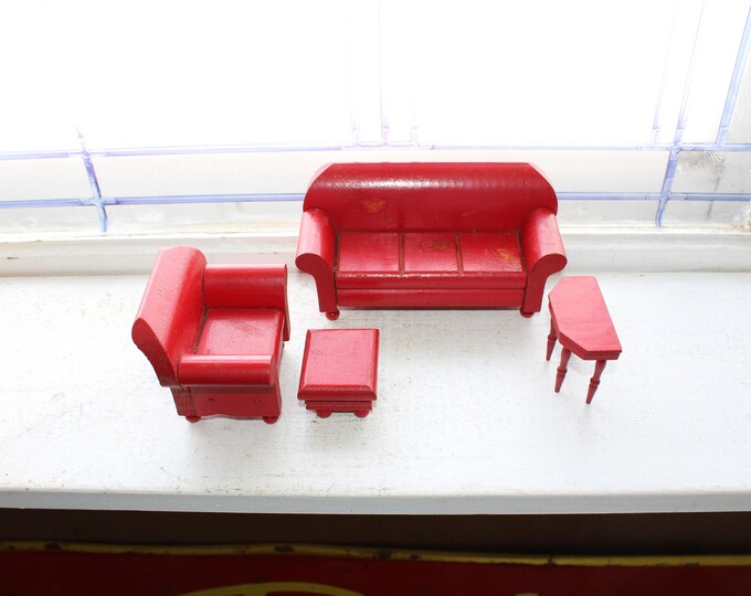 Schoenhut Wood Dollhouse Furniture Red Couch Chair Ottoman Table 1930s