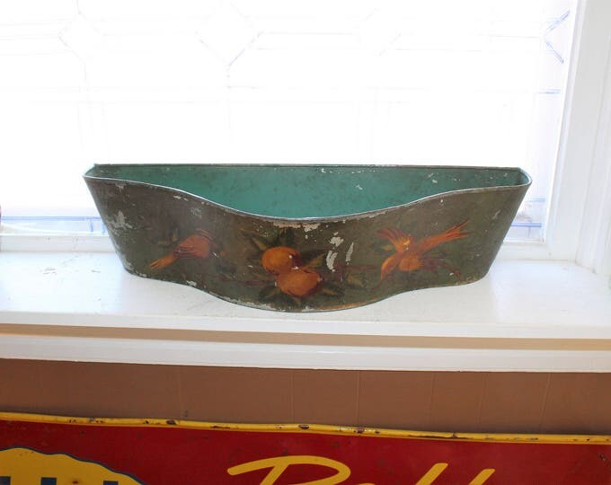 Large Antique Toleware Window Box Planter Painted Tin Bird Fruit 1800s