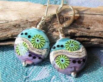 Aqua, Violet n Green,  Multi Colored  Spree Shaped Lampwork with Murrini Earrings, Bright Colored Artisan Glass, Sterling Lever Backs, Gift