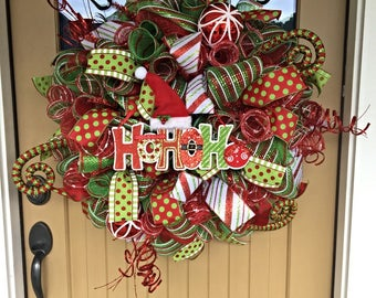 HOHOHO Christmas Wreath ~ Christmas Deco Mesh Wreath