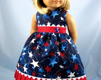 Patriotic Doll Dress - Red White and Blue Doll Dress and Hair Bow - Independence Day - 18 Inch Doll Clothes - Fits American Girl Dolls