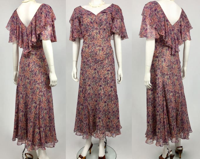 1930's Purple and Pink Paisley Bias Cut Diaphanous Silk Chiffon Day Dress -Impeccable Condition - Museum Quality 30's Dress - Ladies 10/12
