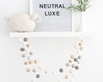 Neutral Luxe Christmas Garland- Silver Gold Cream Farmhouse Decor- Mantle Decor- Pom Pom garland- Christmas Mantle decoration- silver gold