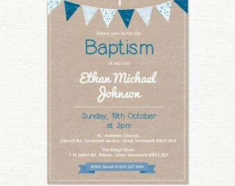 Baptism Invitation, Christening Invitation, Boys Baby Babies, Bunting & Blue Patterns, Childrens Shabby Chic, Digital file