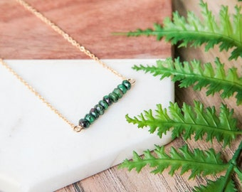 Dainty gold bar necklace | Green morganite gemstone bar pendant | Simple gold plated layering necklace | Gifts for her under 30 |