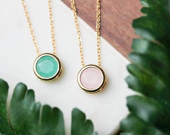 Dainty bezel set necklace | Gold plated layering necklace | Gifts for her under 20 | Present for Mom | Bridesmaid gifts | Pink necklace |