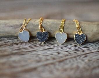 Black  Druzy Heart Necklace