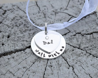 Bouquet charm, memorial bouquet charm, walk with me wedding bouquet charm, dad rememberence bouquet charm with ribbon