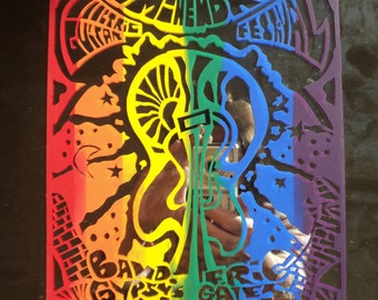 Vintage Jimi Hendrix Silk Screened Poster of The 1995 Jimi Hendrix Electric Guitar Festival printed on a Mirror Tile with rainbow of colors