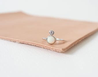 The Orb - Silver Stacking Ring, Opal Ring, Gifts for her