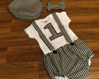 Black Hounds tooth Baby Boy First Birthday Smash Cake Outfit With Hat, Bow Tie, Diaper Cover And Suspenders Photo Prop