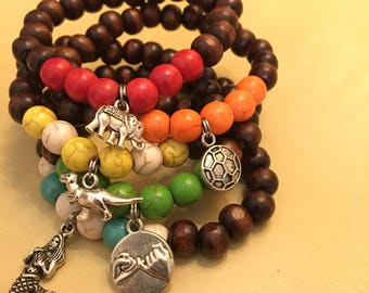 Kids worry bracelet calming anxieties yoga meditation wood bead bracelet pick colour and charm your kids will love