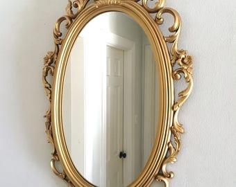 Vintage Gold Mirror Ornate Hollywood Regency Syroco